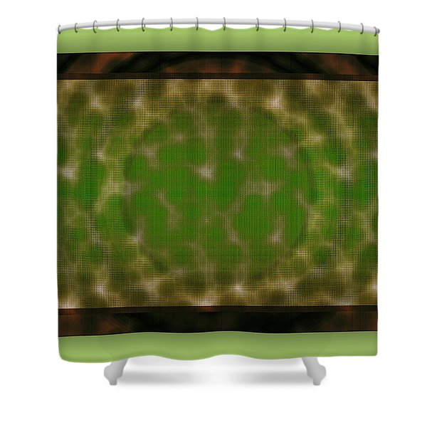 Shower Curtain featuring the digital art Microscopic Scale - Green by Mihaela Stancu
