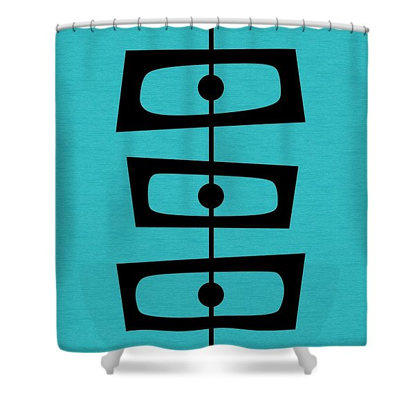Mid Century Shapes On Turquoise Shower Curtain