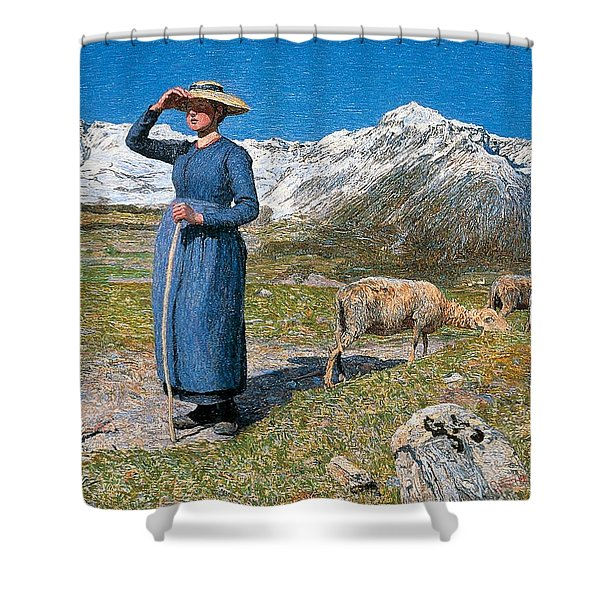 Midday On Alps On Windy Day Shower Curtain