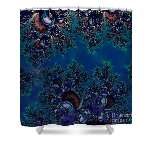 Midnight Blue Frost Crystals Fractal Shower Curtain