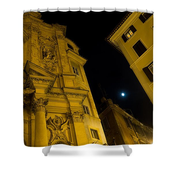 Midnight Roman Facades In Yellow  Shower Curtain