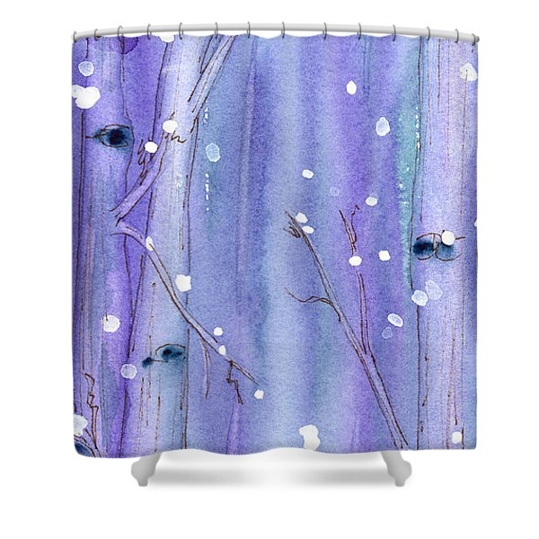 Midnight Snow In The Aspens Shower Curtain