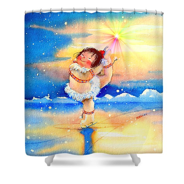 Midnight Sun Figure Skater Shower Curtain