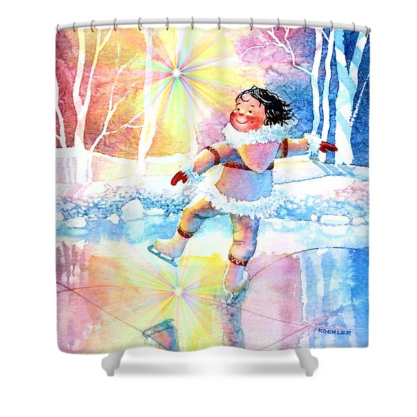 Midnight Sun Skating Fun Shower Curtain