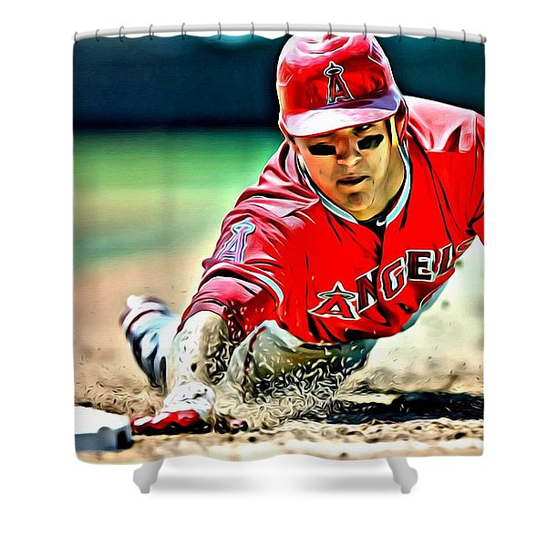 Mike Trout Painting Shower Curtain