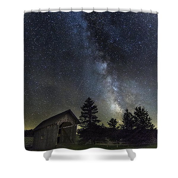 Milky Way Over Foster Covered Bridge Shower Curtain