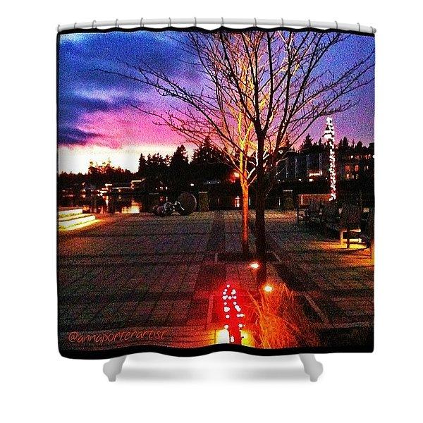 Millennium Park Plaza At Sunset Shower Curtain