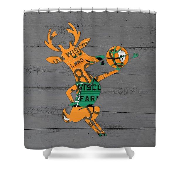 Milwaukee Bucks Basketball Team Logo Vintage Recycled Wisconsin License Plate Art Shower Curtain