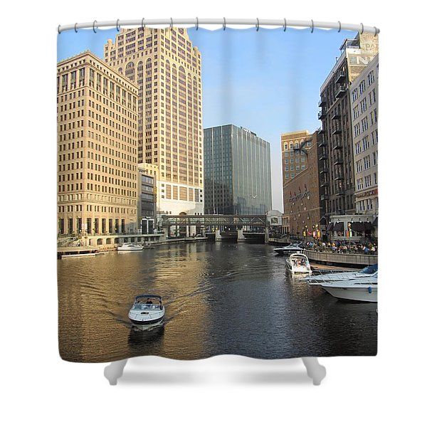 Shower Curtain featuring the photograph Milwaukee River Theater District 3 by Anita Burgermeister