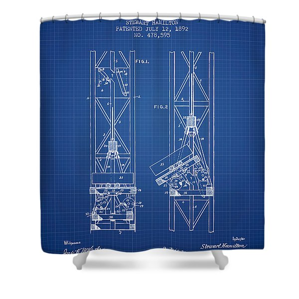 Mine Elevator Patent From 1892 - Blueprint Shower Curtain