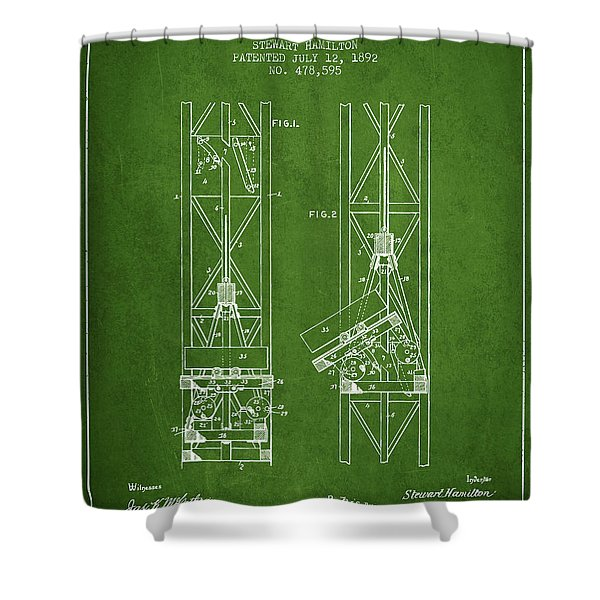 Mine Elevator Patent From 1892 - Green Shower Curtain