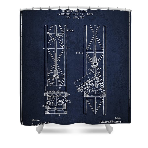 Mine Elevator Patent From 1892 - Navy Blue Shower Curtain