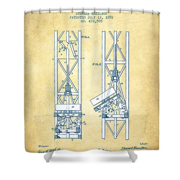 Mine Elevator Patent From 1892 - Vintage Paper Shower Curtain