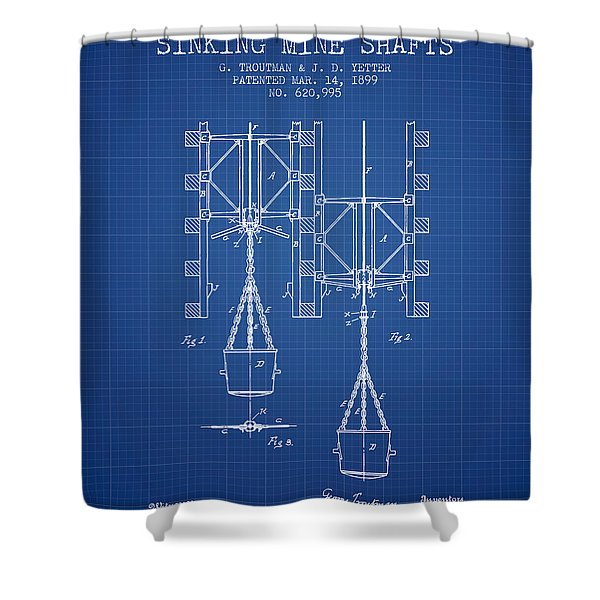 Mine Shaft Safety Device Patent From 1899 - Blueprint Shower Curtain