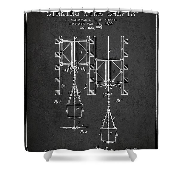 Mine Shaft Safety Device Patent From 1899 - Charcoal Shower Curtain