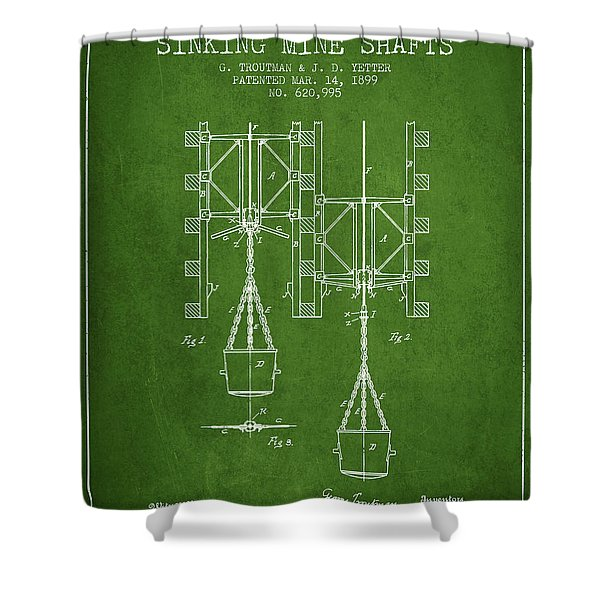 Mine Shaft Safety Device Patent From 1899 - Green Shower Curtain