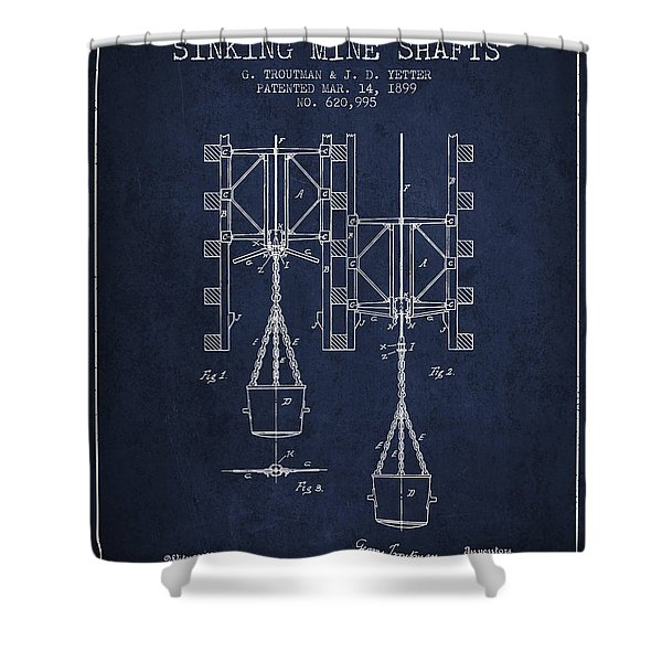 Mine Shaft Safety Device Patent From 1899 - Navy Blue Shower Curtain