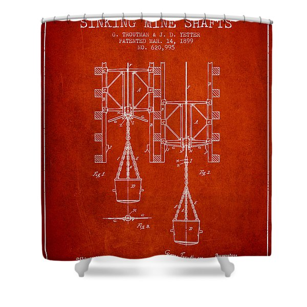 Mine Shaft Safety Device Patent From 1899 - Red Shower Curtain
