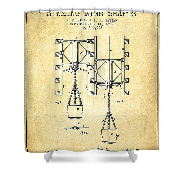 Mine Shaft Safety Device Patent From 1899 - Vintage Shower Curtain