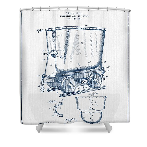 Mine Trolley Patent Drawing From 1903- Blue Ink Shower Curtain
