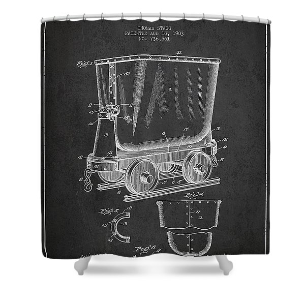 Mine Trolley Patent Drawing From 1903 - Dark Shower Curtain