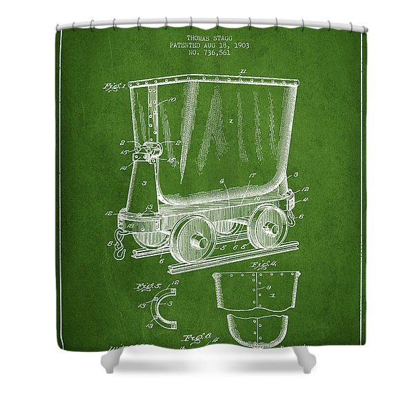 Mine Trolley Patent Drawing From 1903 - Green Shower Curtain