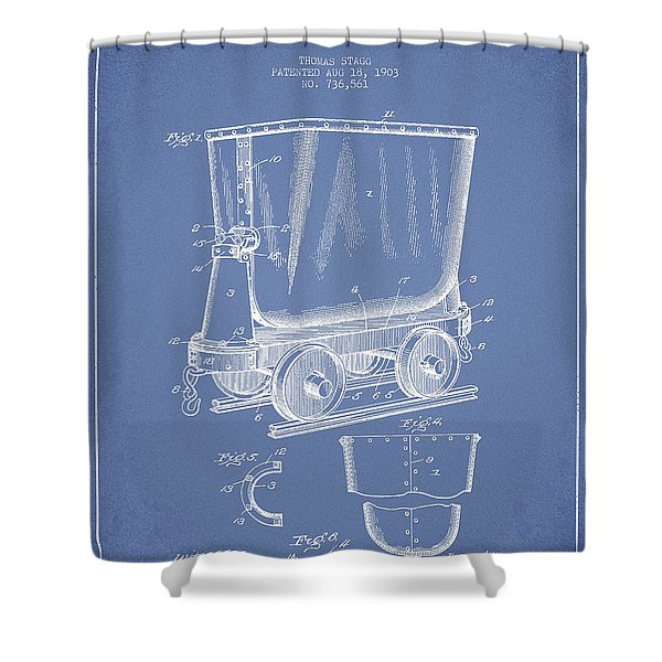 Mine Trolley Patent Drawing From 1903 - Light Blue Shower Curtain