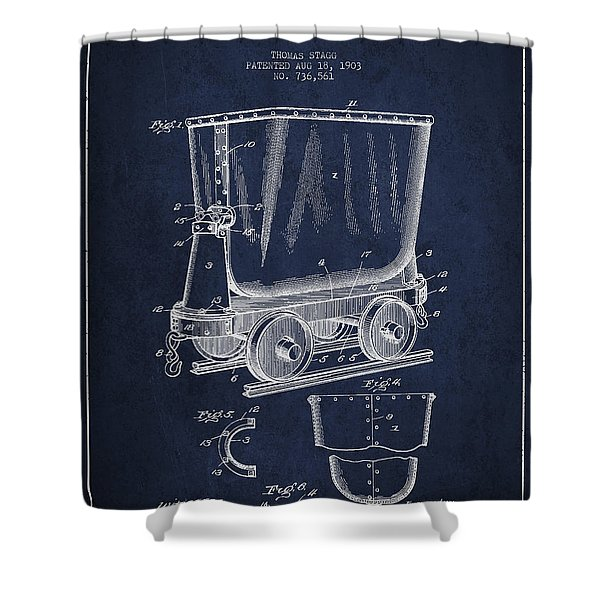 Mine Trolley Patent Drawing From 1903 - Navy Blue Shower Curtain