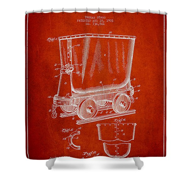 Mine Trolley Patent Drawing From 1903 - Red Shower Curtain