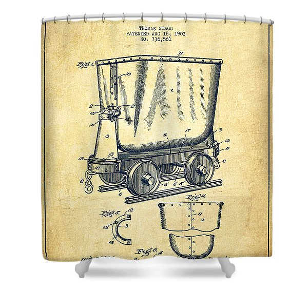 Mine Trolley Patent Drawing From 1903 - Vintage Shower Curtain