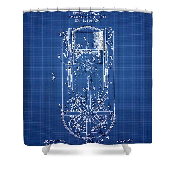Mining Machine Patent From 1914- Blueprint Shower Curtain
