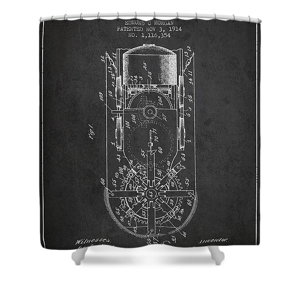 Mining Machine Patent From 1914- Charcoal Shower Curtain
