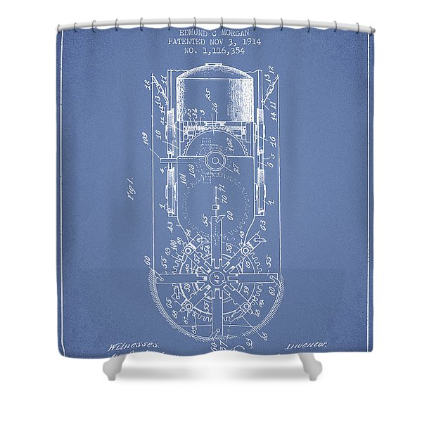 Mining Machine Patent From 1914- Light Blue Shower Curtain