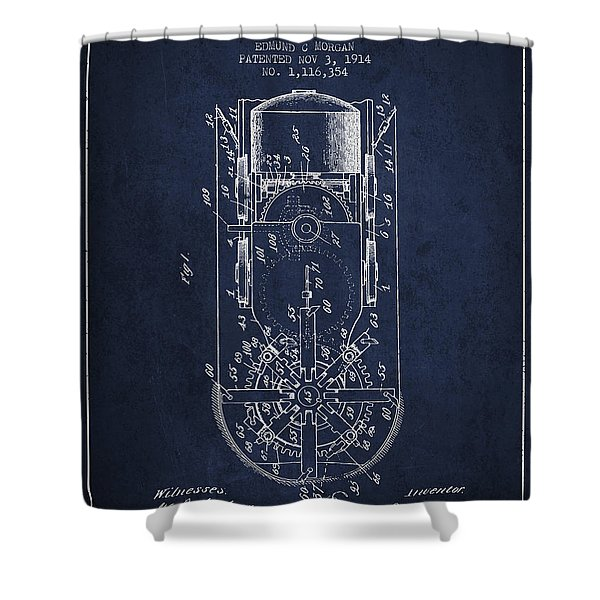 Mining Machine Patent From 1914- Navy Blue Shower Curtain