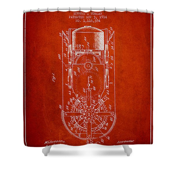 Mining Machine Patent From 1914- Red Shower Curtain