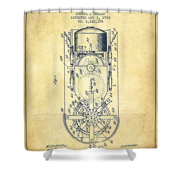 Mining Machine Patent From 1914- Vintage Shower Curtain