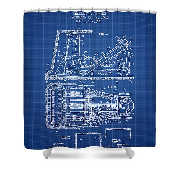 Mining Machinery Patent From 1915- Blueprint Shower Curtain