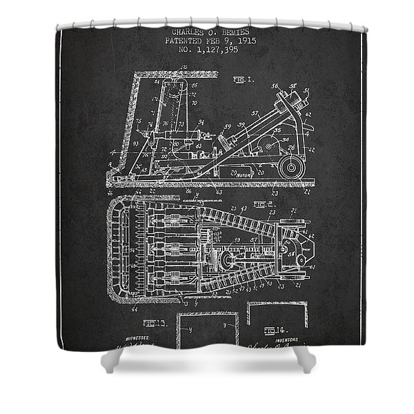 Mining Machinery Patent From 1915- Charcoal Shower Curtain