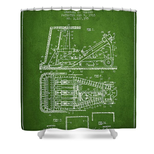 Mining Machinery Patent From 1915- Green Shower Curtain
