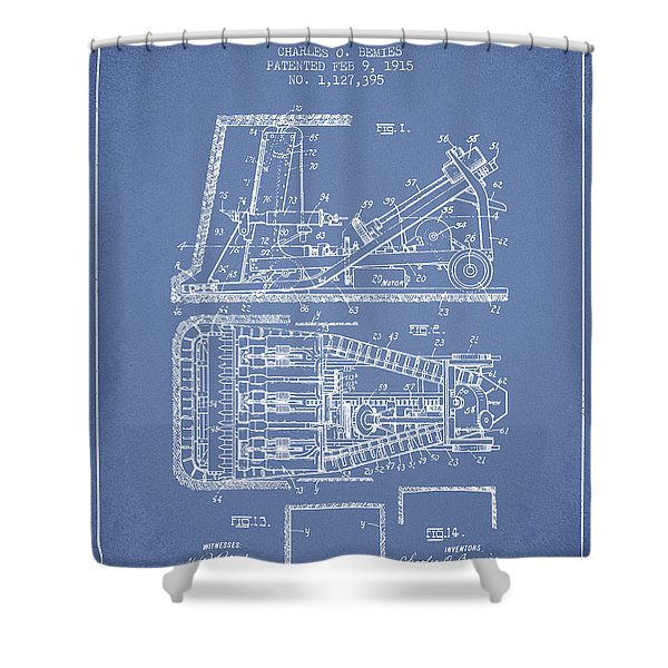 Mining Machinery Patent From 1915- Light Blue Shower Curtain