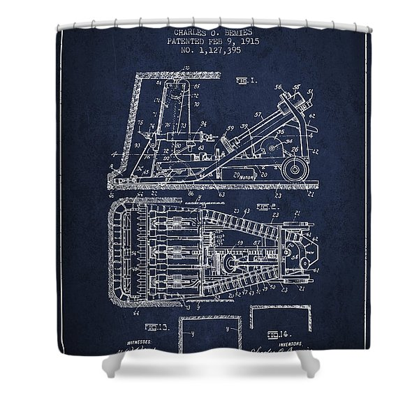 Mining Machinery Patent From 1915- Navy Blue Shower Curtain