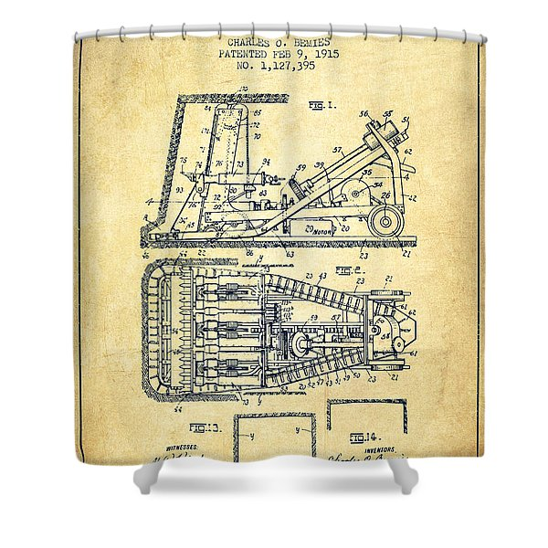 Mining Machinery Patent From 1915- Vintage Shower Curtain