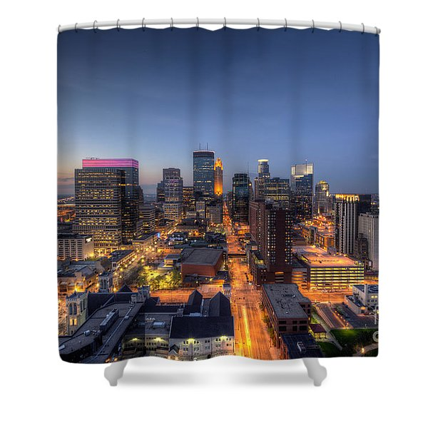 Minneapolis Skyline At Night Shower Curtain