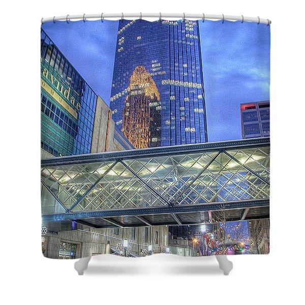 Minneapolis Skyline Photography Nicollet Mall Winter Evening Shower Curtain