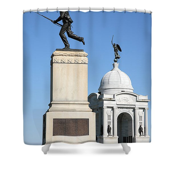 Minnesota And Pennsylvania Monuments At Gettysburg Shower Curtain