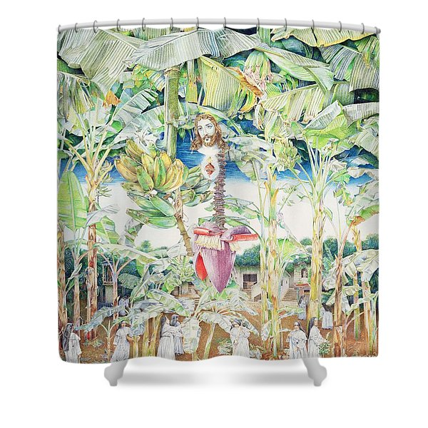 Miraculous Vision Of Christ In The Banana Grove, 1989 Oil On Canvas Shower Curtain