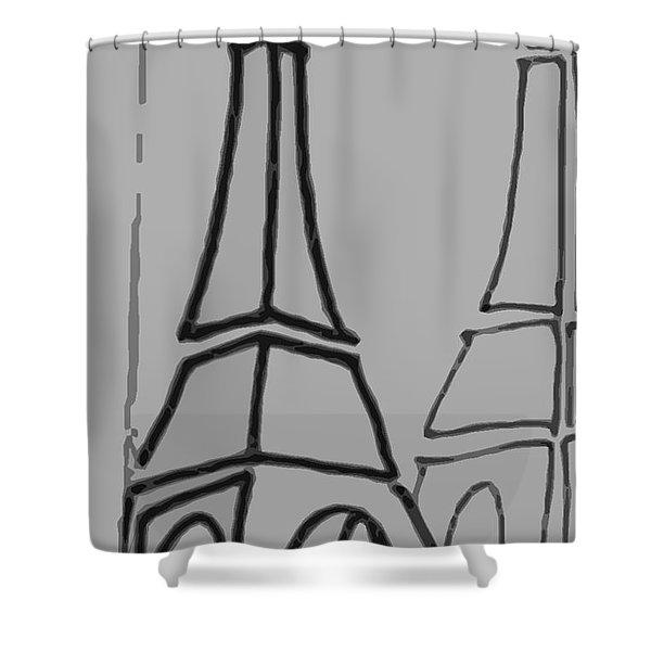 Mirrored Eiffel Tower Shower Curtain