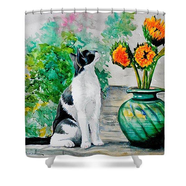 Da129 Miss Kitty Daniel Adams Shower Curtain