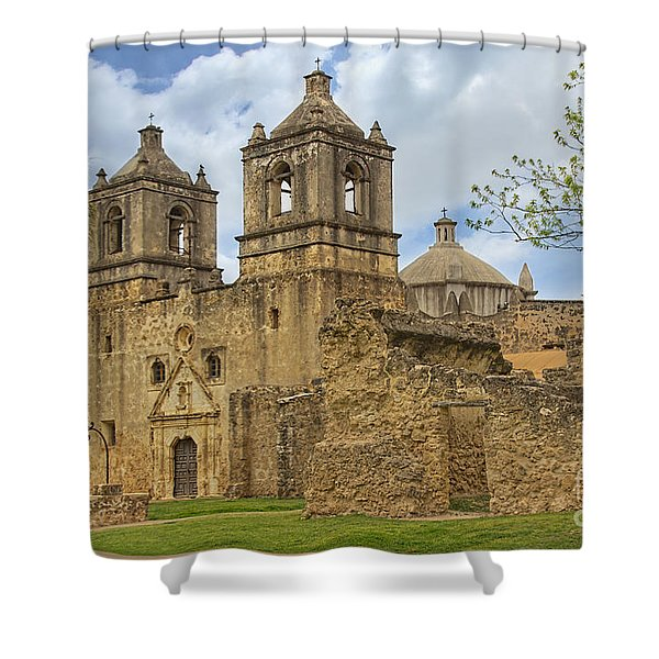 Shower Curtain featuring the photograph Mission Concepcion by Jemmy Archer