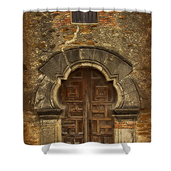 Shower Curtain featuring the photograph Mission Espada Doorway by Jemmy Archer